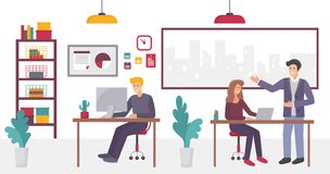 People in creative coworking Office center in university campus interior vector illustration. People in creative coworking Office center in university campus stock illustration