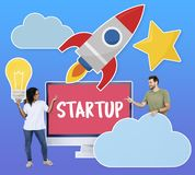 People with creativity and start up business concept icons royalty free stock images