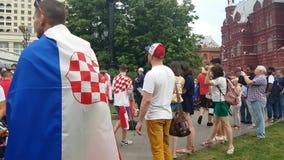 People in Croatian national soccer team wear stock footage