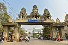People cross the border between Thailand and Cambodia Stock Photo
