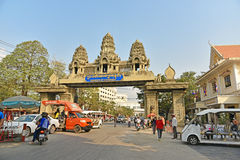 People cross the border between Thailand and Cambodia Stock Images