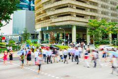 People cross road business Singapore stock image