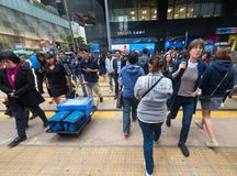 People cross road, Hong Kong stock photo