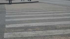 People cross the road on a pedestrian crossing. Close-up crosswalk stock video footage