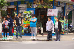 People at Crossing in Banos, Ecuador Stock Image