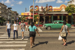 People crossing pedestrian crosswalk Vedado Havana royalty free stock image
