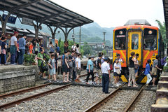 People crossing the railway Stock Images