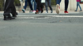 People Crossing Road at a Down View of Transition stock video footage
