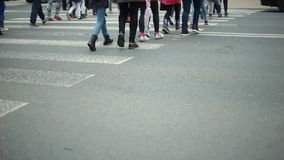 People Crossing Road at a Down View of Transition stock footage