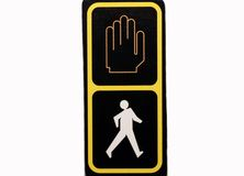 People crossing sign. Walk and don't walk sign stock photos