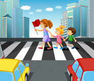 People crossing stree in the city Royalty Free Stock Photo