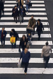 People crossing the street. Group of people crossing the street-upper view Royalty Free Stock Photography