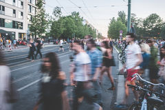 People crossing street , blur / city traffic Royalty Free Stock Image