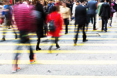 People crossing a street in Hongkong Stock Photos