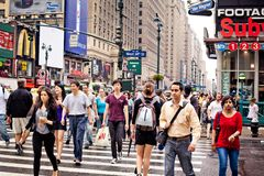 People crossing the street in New York Stock Photos
