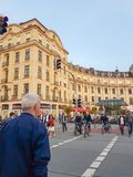 People crossing street  to and from Karlsplatz Stock Images