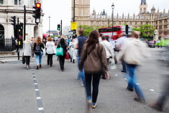 People crossing a street in Westminster, London Royalty Free Stock Photo