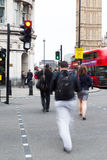People crossing a street in Westminster, London Royalty Free Stock Image