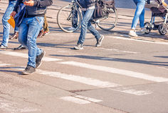 Free People Crossing The Pedestrian Crossing Royalty Free Stock Photography - 92421687