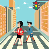 People on the Crosswalk. Businessman Goes to Work. Smiling Woman Royalty Free Stock Photography