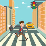 People on the Crosswalk. Businessman Hurry to Work. Royalty Free Stock Photos