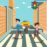 People on the Crosswalk. Businessman Hurry to Work. Royalty Free Stock Photography