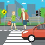 People on crosswalk,Grandmother and girl stand on city street royalty free illustration