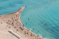 People crowd on the beach, top view Royalty Free Stock Photo