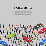 People crowd and cars background. Vector Stock Photo