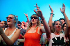 People from the crowd (fans) watch a concert at FIB  Festival Stock Image