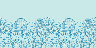 People in a crowd horizontal seamless pattern Royalty Free Stock Photo