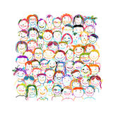 People crowd international, sketch for your design Stock Photography