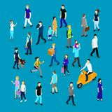 People In Crowd Isometric Collection. With families workers and businesspersons on blue background isolated vector illustration Royalty Free Stock Image