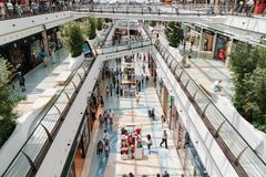 People Crowd Looking For Summer Sales In Vasco da Gama Shopping Center Mall. LISBON, PORTUGAL - AUGUST 10, 2017: People Crowd Looking For Summer Sales In Vasco Stock Photo