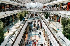 People Crowd Looking For Summer Sales In Vasco da Gama Shopping Center Mall. LISBON, PORTUGAL - AUGUST 10, 2017: People Crowd Looking For Summer Sales In Vasco Stock Images