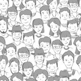 People crowd with many faces, human heads vector seamless background Stock Photos