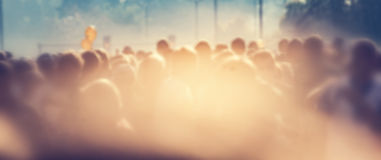 People crowd in the morning, sun flare. Blur background banner Royalty Free Stock Photography