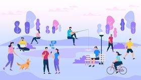 People Crowd Outdoors. Active Men and Women Walk stock illustration