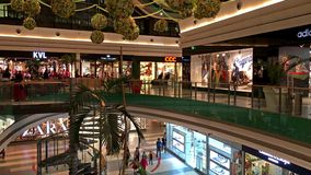 People Crowd Rush In Shopping Luxury Mall Interior stock video