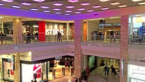 People Crowd Rush In Shopping Luxury Mall Interior stock video footage