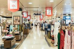 People Crowd Rush For Summer Sale In Shopping Luxury Mall Interior Royalty Free Stock Photo