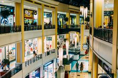 People Crowd Rush For Summer Sale In Shopping Luxury Mall Interior Royalty Free Stock Photos