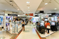 People Crowd Rush For Summer Sale In Shopping Luxury Mall Interior Stock Photos