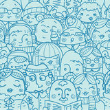 People in a crowd seamless pattern background Royalty Free Stock Images