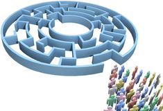 People crowd search maze isolated. People crowd search maze for crowdsourcing solution to puzzling problem stock illustration