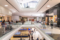 People Crowd Shopping In Luxury Mall Interior Stock Photos