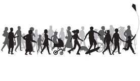 People crowd silhouette. Group of person with shadows walk. Family and children, couple together, bicycle vector stock illustration