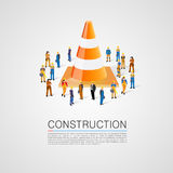 People crowd with traffic cone Royalty Free Stock Image