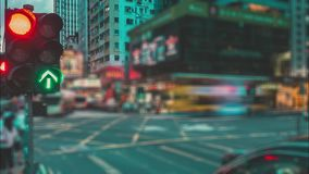 People Crowd and Traffic Lights. In Hong Kong stock footage