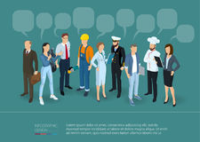 People Crowd With Speech Bubbles. Royalty Free Stock Images